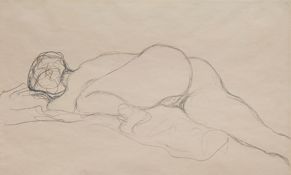 Gustav Klimt Liegender Akt nach links 375 × 571 mm (14,8 × 22,5 in)