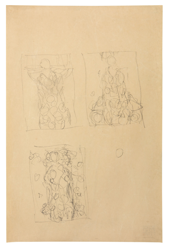 Gustav Klimt - Composition Sketches for Portrait of Eugenia Primavesi, 1912-13, 560 × 375 mm (22 × 14,8 in), Pencil on Japan paper