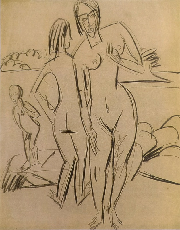 Ernst Ludwig Kirchner - Nudes on the Beach of Fehmarn, 1914, 585 × 460 mm (23 × 18,1 in), Black crayon on paper