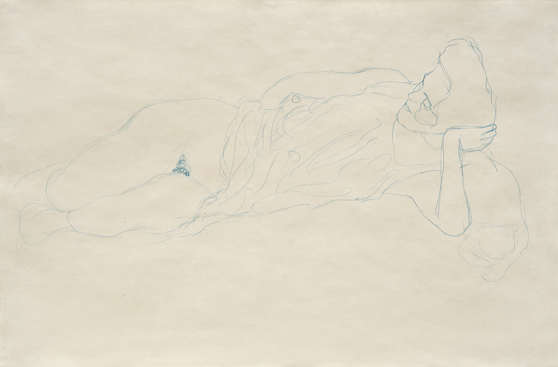 Gustav Klimt - Reclining Woman with Raised Dress, 1908-09, 368 × 557 mm (14,5 × 21,9 in), Blue crayon on paper