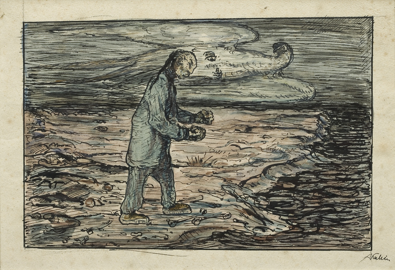 Alfred Kubin - On the shore, c. 1918, 201 × 319 mm (7,9 × 12,6 in), Watercolor and pen and ink on land register paper