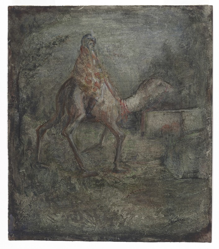 Alfred Kubin - Camel Rider, c. 1905, 294 × 254 mm (11,6 × 10 in), Paste-paint (gouache, watercolour, gum Arabic and pastel) on paper