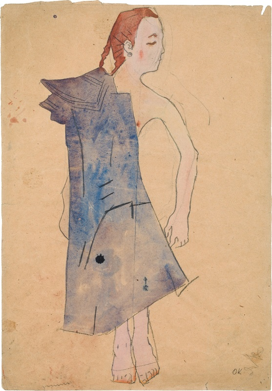 Oskar Kokoschka - Young Girl in a Blue Coat, 1907, 454 × 316 mm (17,9 × 12,4 in), Pencil and watercolour on paper