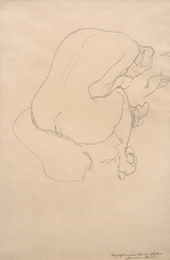 Seated female nude, viewed from the back, Study for