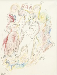 George Grosz, c. 1916, 282 × 222 mm (11,1 × 8,7 in), Colour crayon and pen and ink on paper