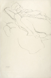 Reclining female semi-nude with legs drawn up to her left