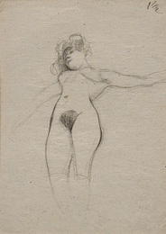 Floating Nude with Arms Stretched out, Study for