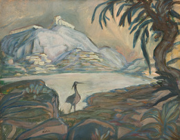 Mountain landscape with bird