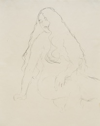 Seated, Long-Haired Nude, Study for