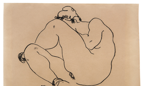 Egon Schiele Nude with Raised Knee 295 × 430 mm (11,6 × 16,9 in)