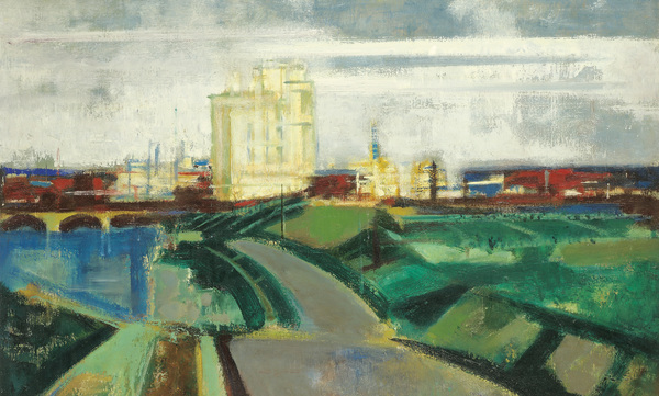 Josef Floch City Entrance 54,5 × 81,4 cm (21,5 × 32 in)