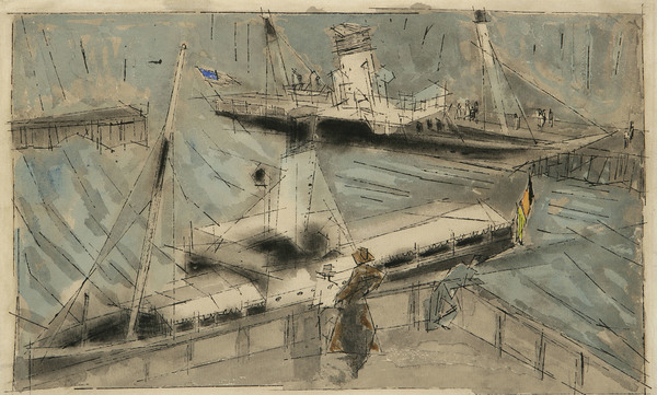 Lyonel Feininger The Landing Place 317 × 480 mm (12,5 × 18,9 in)